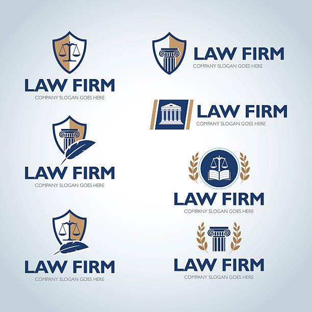 lawyer emblem design templates. - lawyer stock illustrations, clip art, cartoons, & icons