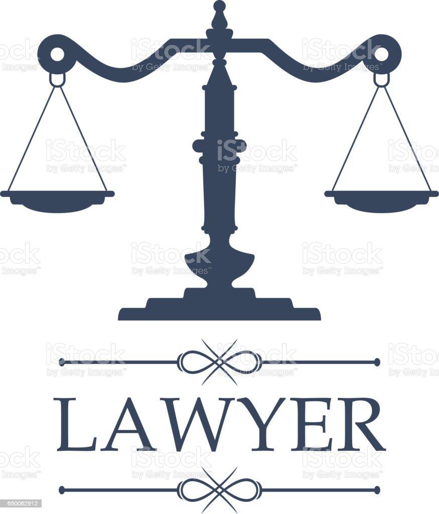 O ícone do advogado de escalas de Justiça vector o emblema - ilustração de arte em vetor
