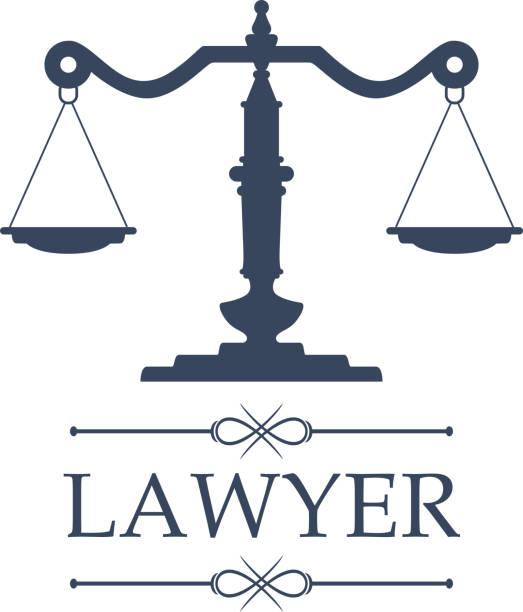 ilustrações, clipart, desenhos animados e ícones de o ícone do advogado de escalas de justiça vector o emblema - assistente jurídico