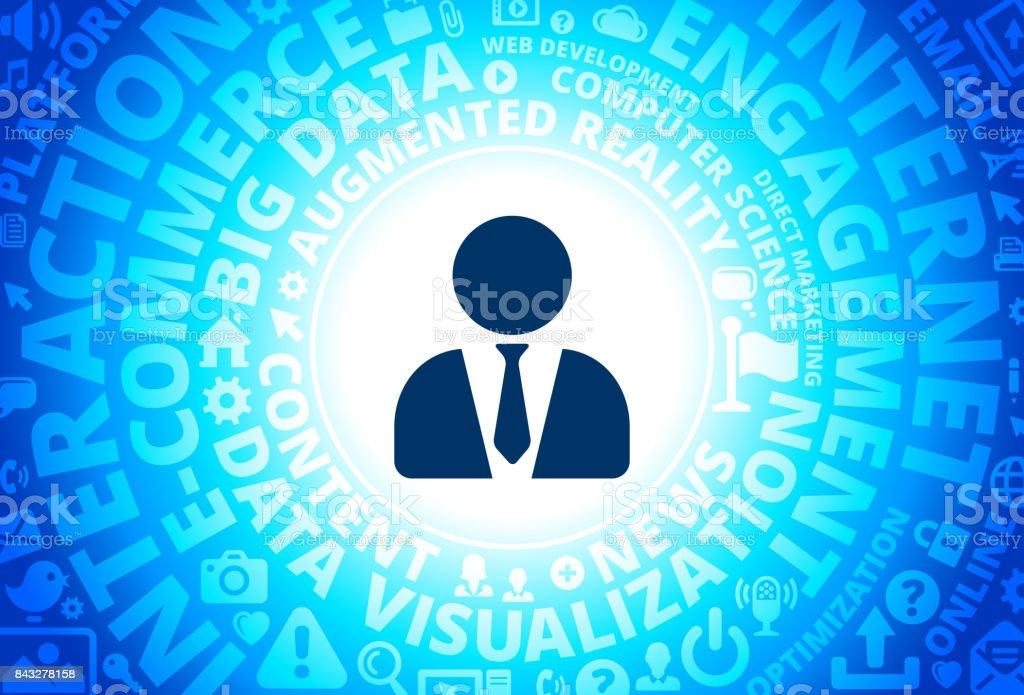 Lawyer Icon on Internet Modern Technology Words Background vector art illustration