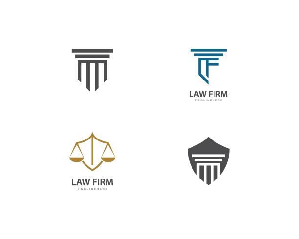 bildbanksillustrationer, clip art samt tecknat material och ikoner med advokat logo ilustration vektor - lawyer
