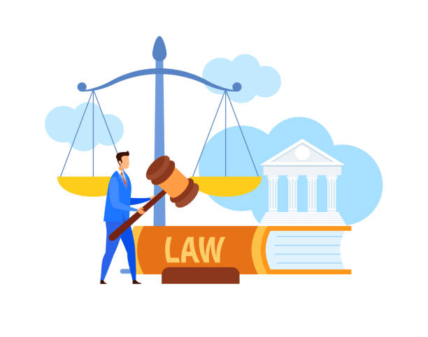 Lawyer, Legal Advisor Holding Gavel Flat Character Lawyer, Legal Advisor Holding Gavel Flat Character. Cartoon Attorney with Law Symbols. Human Rights Defense Vector Illustration. Trial Procedure, Justice, Punishment. Huge Scales, Legal Book courthouse stock illustrations
