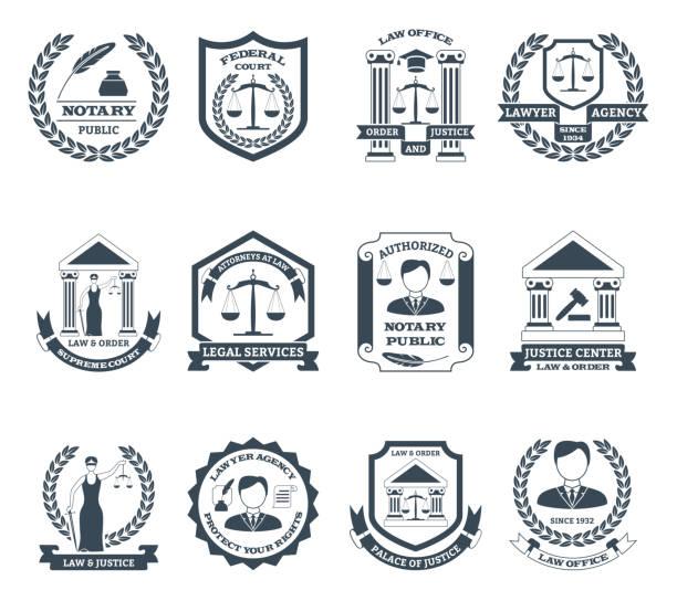 illustrations, cliparts, dessins animés et icônes de logo avocat noir ensemble - notaire