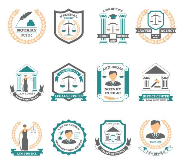 lawyer logo set - supreme court stock illustrations