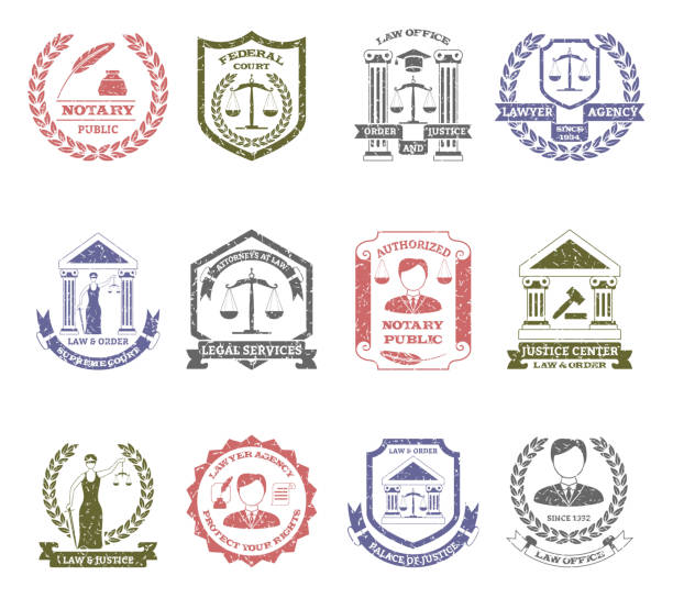lawyer logo stamps - supreme court stock illustrations