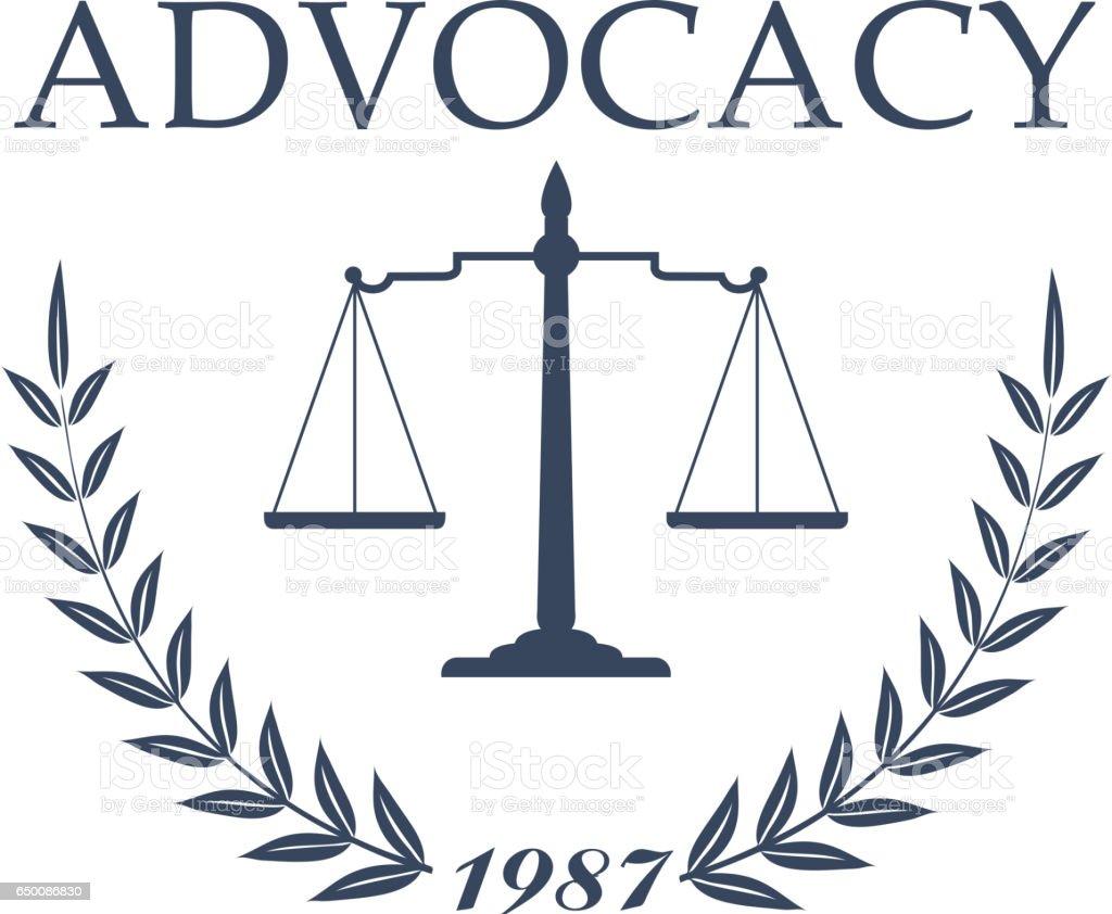 Escritório do advogado e projeto do símbolo da firma de lei - ilustração de arte em vetor