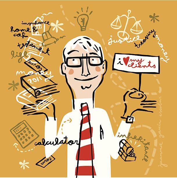 ilustraciones, imágenes clip art, dibujos animados e iconos de stock de abogado fomento de su negocio - asesor financiero