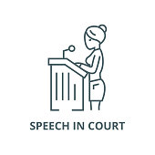 Lawyer woman,speech in court vector line icon, linear concept, outline sign, symbol