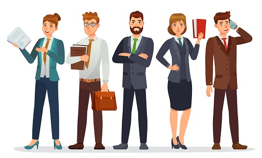 Lawyers team. Legal department, business or financial lawyer. Professional attorneys cartoon characters vector illustration. Lawyer team professional, people consultant character