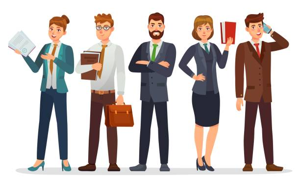 Lawyers team. Legal department, business or financial lawyer. Professional attorneys cartoon characters vector illustration Lawyers team. Legal department, business or financial lawyer. Professional attorneys cartoon characters vector illustration. Lawyer team professional, people consultant character jurist stock illustrations