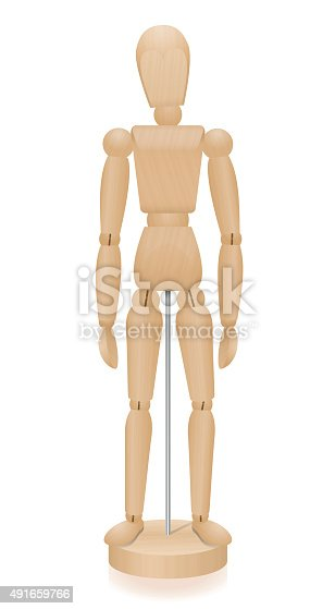 Lay figure - three-dimensional mannequin with realistic wood grain - basic position. Isolated vector illustration over white background.