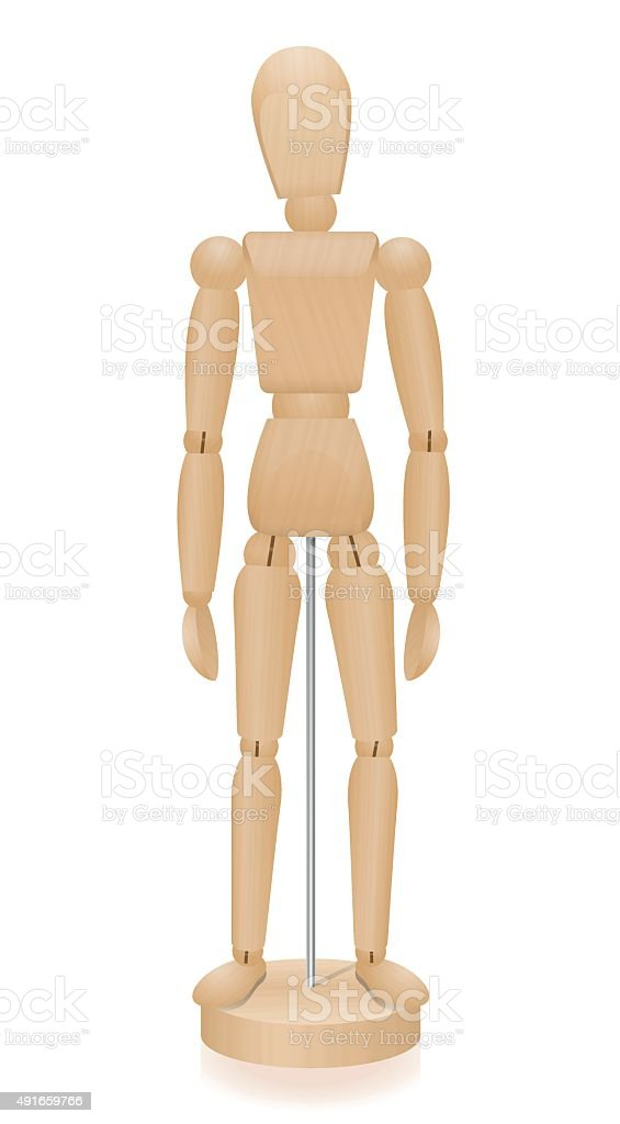 Lay Figure Wooden Mannequin Basic Position vector art illustration