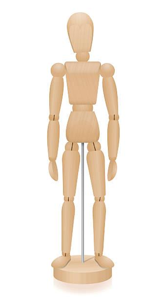 schemat rysunek drewniany manekin podstawowe pozycji - marionetka stock illustrations