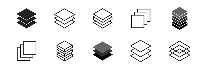 Layer icon collection. Vector layers line symbol set on white background.