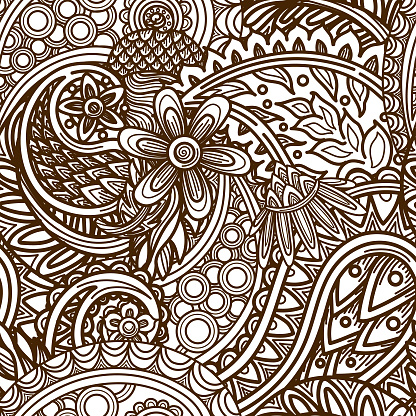 Layered 1960s Seamless Paisley Hippie Patterned Background