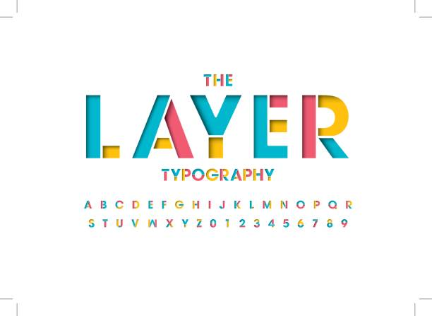 Layered alphabet Vector of colorful layered font and alphabet paper craft stock illustrations
