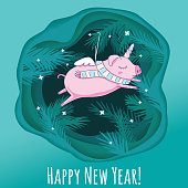 Layered cut out paper Christmas postcard with tree branches and symbol of 2019 a pig as an unicorn. Vector illustration