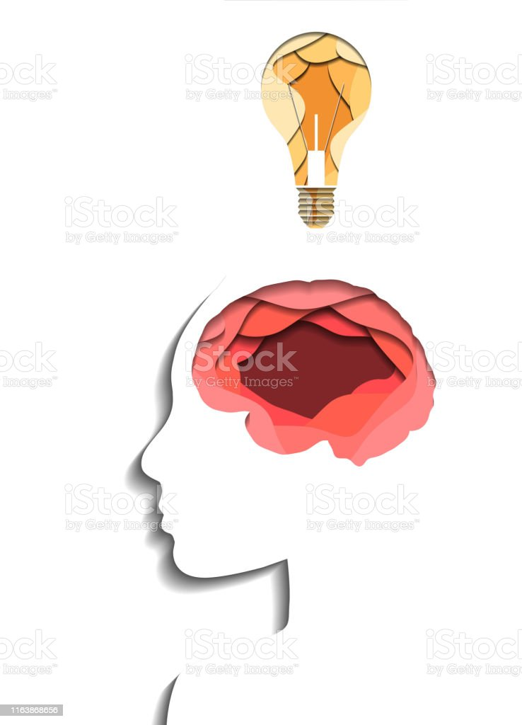 Layered human profile, brain and light bulb cut out of paper on white...