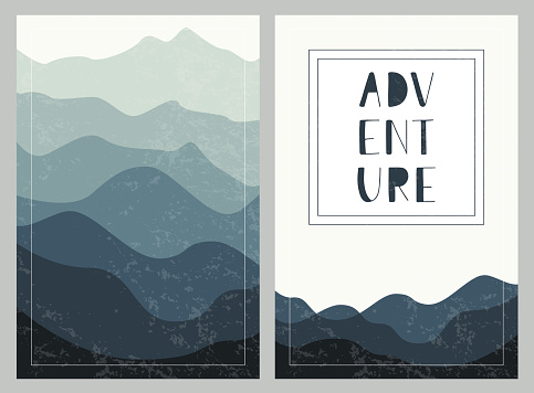 Layered mountains backgrounds with hand drawn lettering. Adventure. Set of outdoor cards.