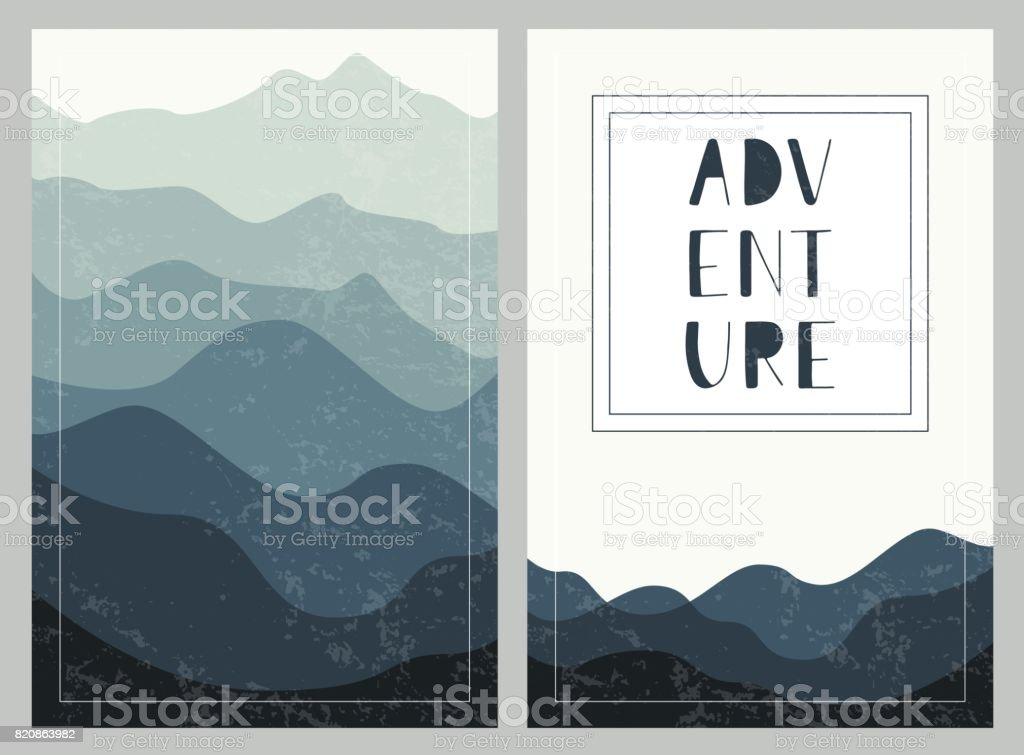 Geschichteten Gebirge Hintergründe mit Hand gezeichnet Schriftzug. Abenteuer. Reihe von Outdoor-Karten. – Vektorgrafik