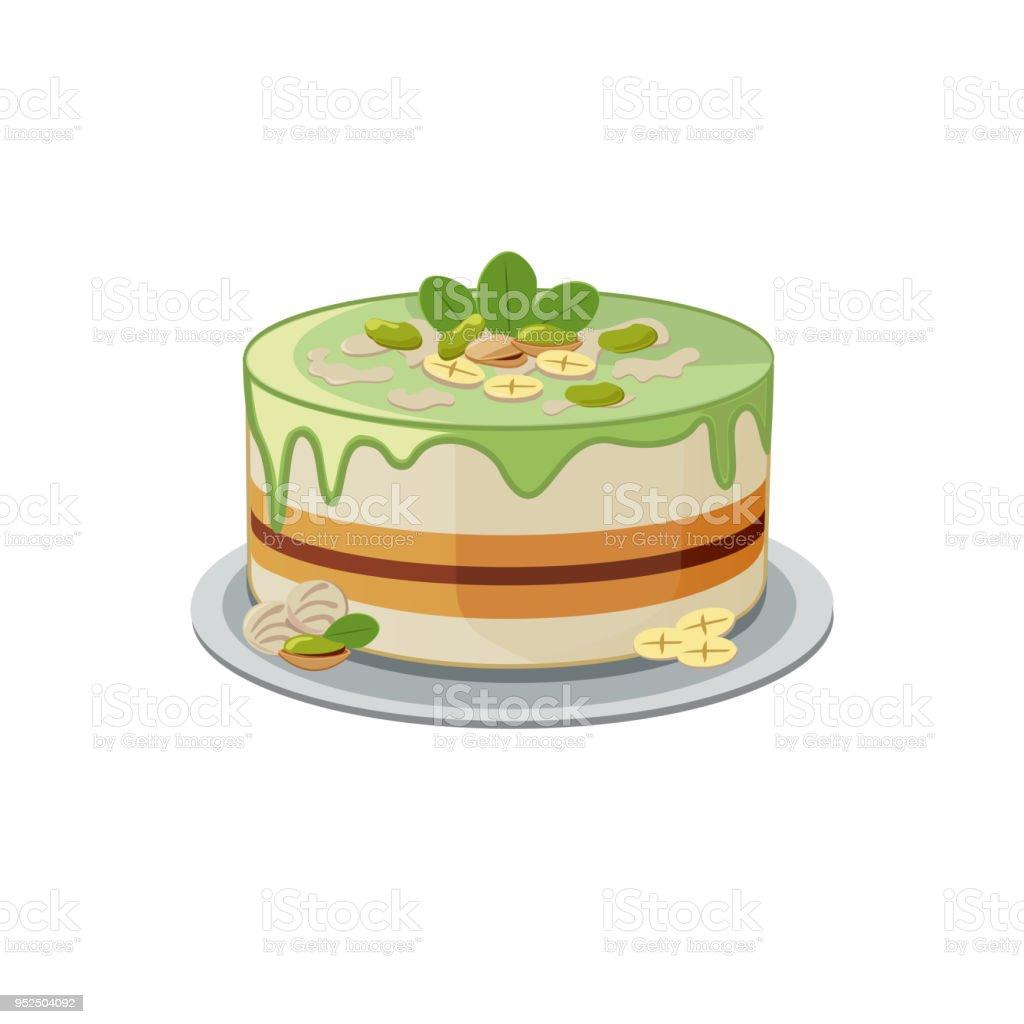 AuBergewohnlich Geschichtete Pistazien Kuchen Im Cartoon Stil. Runde Minze Torte Mit  Topping, Banane,