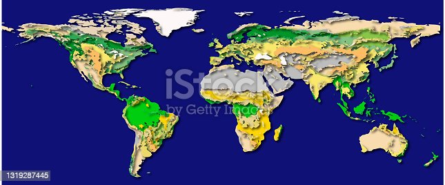 istock Layered world map with shadows, elements of this image furnished by NASA. 1319287445