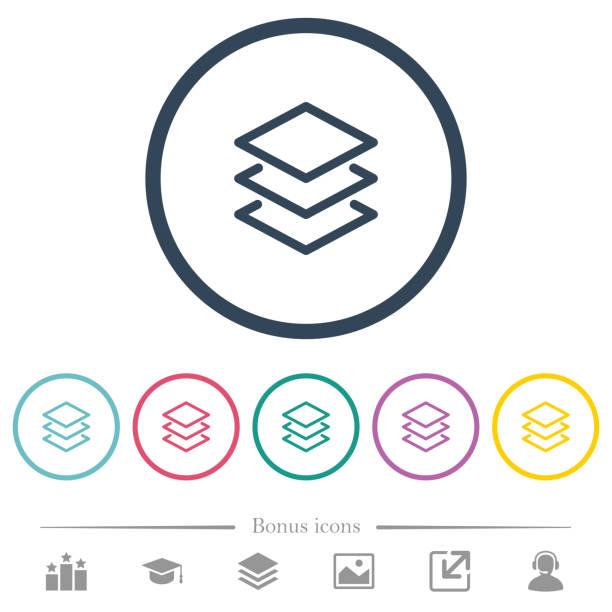 Ebenen flache farbige Icons in Runde Konturen – Vektorgrafik