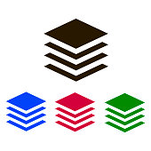 Layers icon vector. Blue, red , green, black