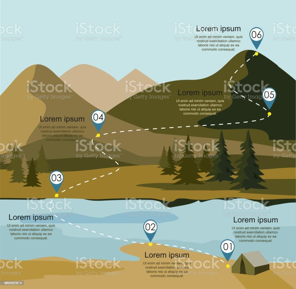 Layers of mountain landscape with fir forest and river. Tourism route infographic layers of mountain landscape with fir forest and river tourism route infographic - stockowe grafiki wektorowe i więcej obrazów alpy royalty-free