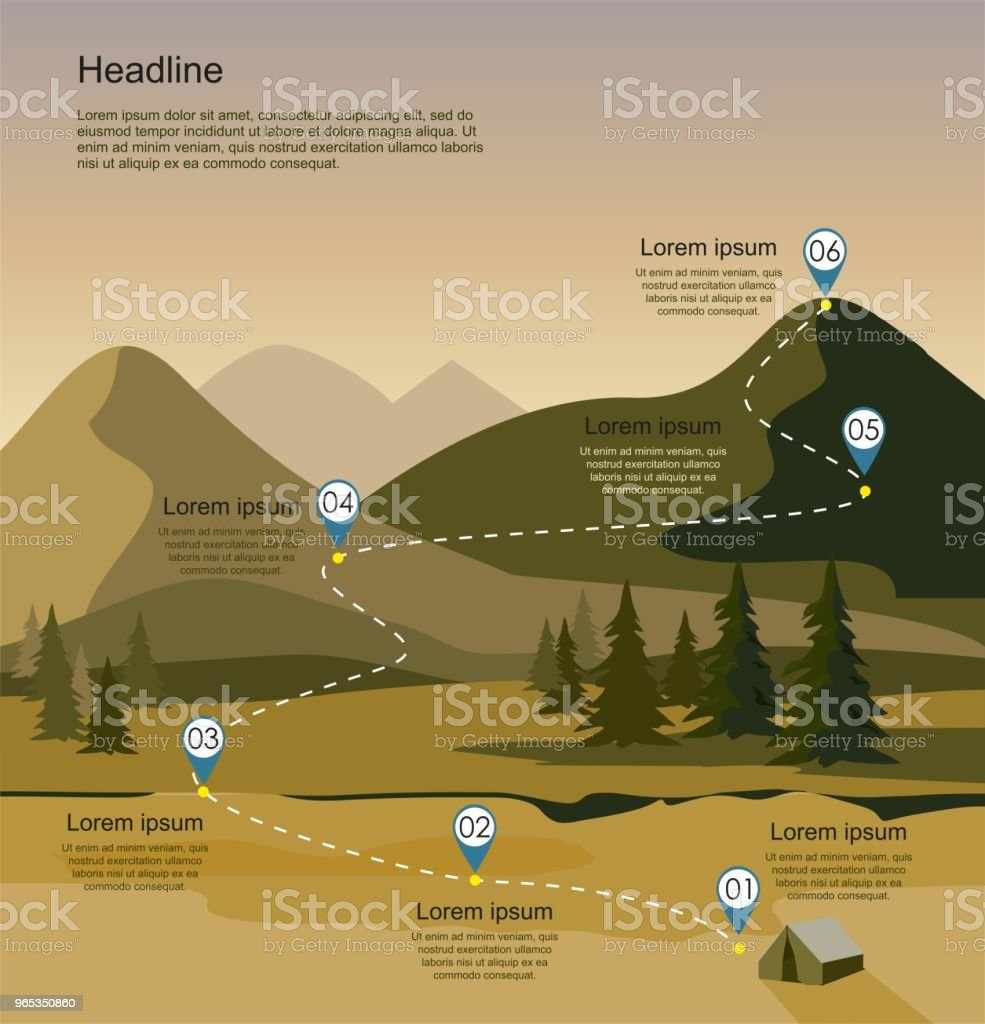 Layers of mountain landscape with fir forest. Tourism route infographic. royalty-free layers of mountain landscape with fir forest tourism route infographic stock vector art & more images of adventure
