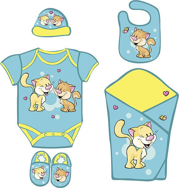 babyausstattung für neugeborene baby mit niedlichen kitty - catsuit stock-grafiken, -clipart, -cartoons und -symbole