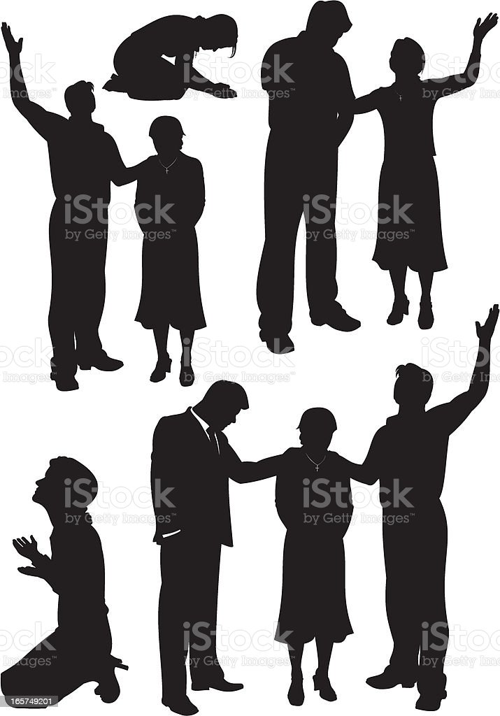 Laying on of Hands in Prayer vector art illustration