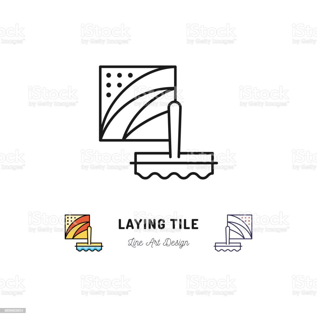 Laying Tile Icon Repair Bathroom Symbol Spatula And Ceramic Tiles ...