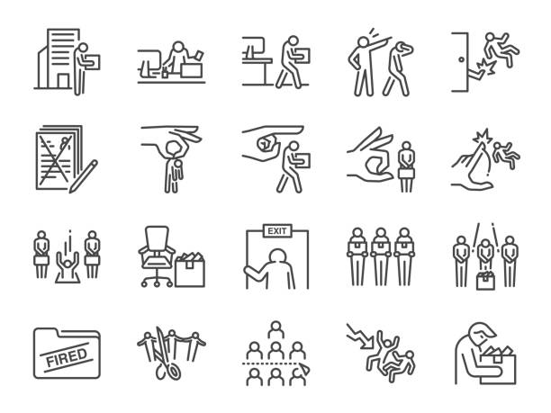 Layoff line icon set. Included icons as employee lay off, job fired, career resign, pay cuts,economic crisis and more. Layoff line icon set. Included icons as employee lay off, job fired, career resign, pay cuts,economic crisis and more. rejection stock illustrations
