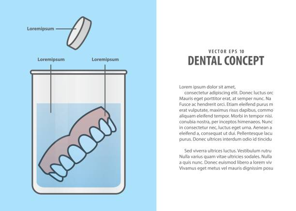 Layout Cleaning the denture cartoon style for info or book illustration vector on blue background. Dental concept. vector art illustration