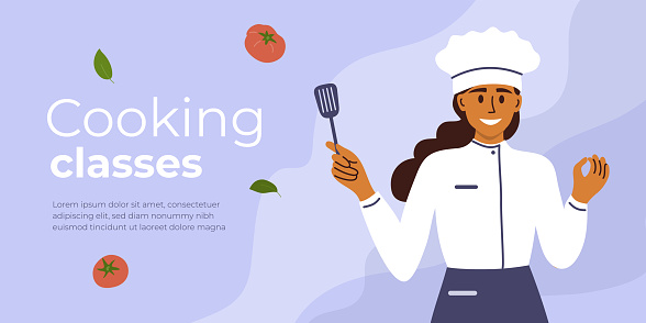 Layout design template for cooking classes with young chef woman