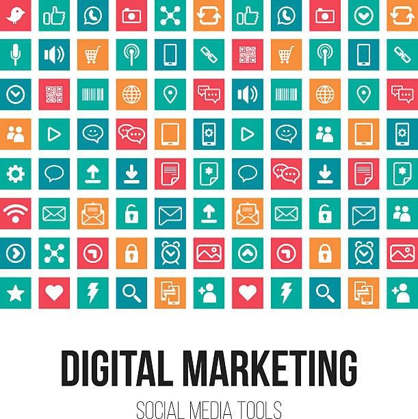 ilustraciones, imágenes clip art, dibujos animados e iconos de stock de diseño de marketing digital - íconos de redes sociales