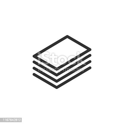 istock Layout Icon. Vector Layers Icon. 4 levels. Canvas Icon in Outline Style. Editable stroke. Vector illustration. 1167642812