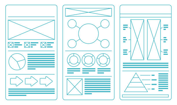 Layout Idea Templates Layout idea templates with copy space ideas. website wireframe stock illustrations