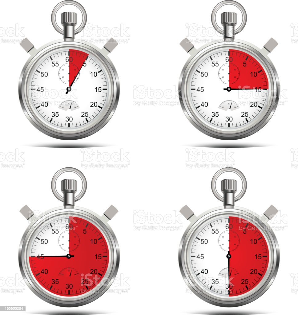 Layout of four timers with time elapsing royalty-free stock vector art