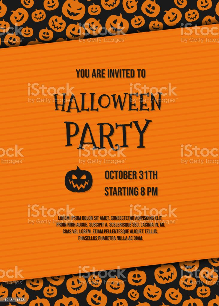 layout of halloween party invitation with funny pumpkins and sample