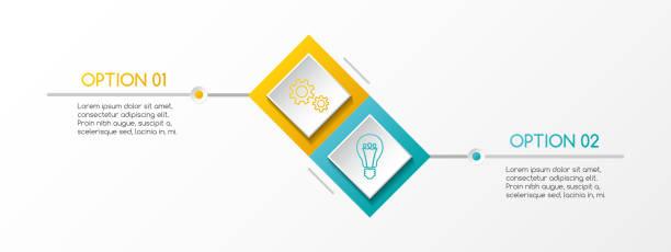 ilustrações, clipart, desenhos animados e ícones de layout do losango infográfico com ícones de negócios. vector. - dois objetos