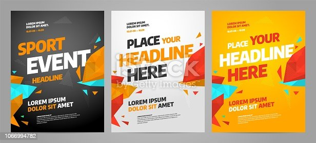 istock Layout poster template design for sport event 1066994782