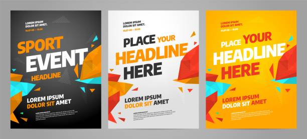 layout poster template design for sport event - poster stock illustrations