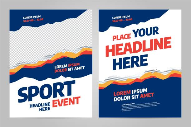 layout poster template design for sport event - banner ads templates stock illustrations