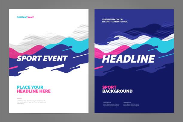 Layout poster template design for sport event Template design with dynamic waves and lines for sport event, tournament or championship. Sport background. race distance stock illustrations