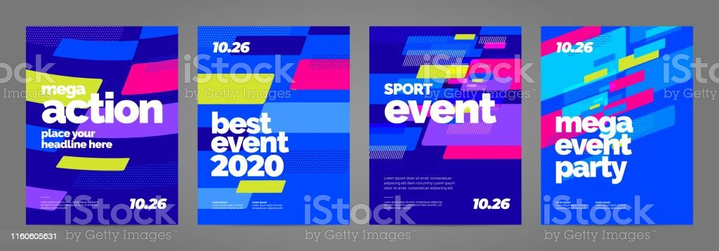 Template design with dynamic shapes for sport event, invitation or...