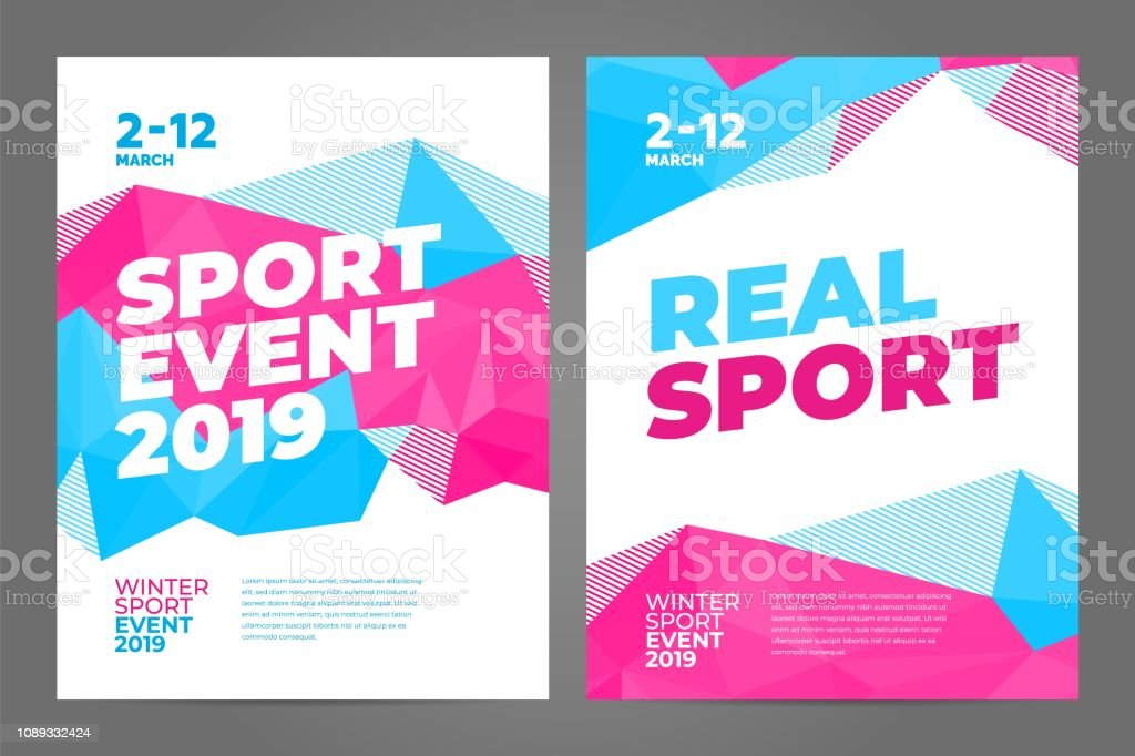 Layout poster template design for winter sport event, tournament or...