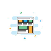 Layout Web Design Flat Line Icon