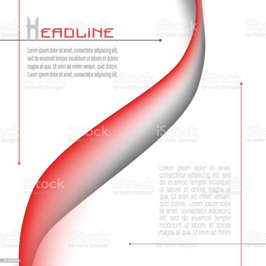 Layout with abstract waveform in red and gray. Minimalistic vector background. Modern template for books, brochures, magazines, posters, leaflets, flyers, presentations, infographic, web pages. EPS10 illustration vector art illustration